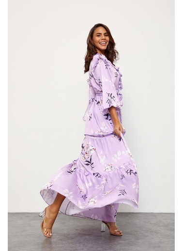 Setre Ekru-Lila Floral Desen Maxi Elbise Lila